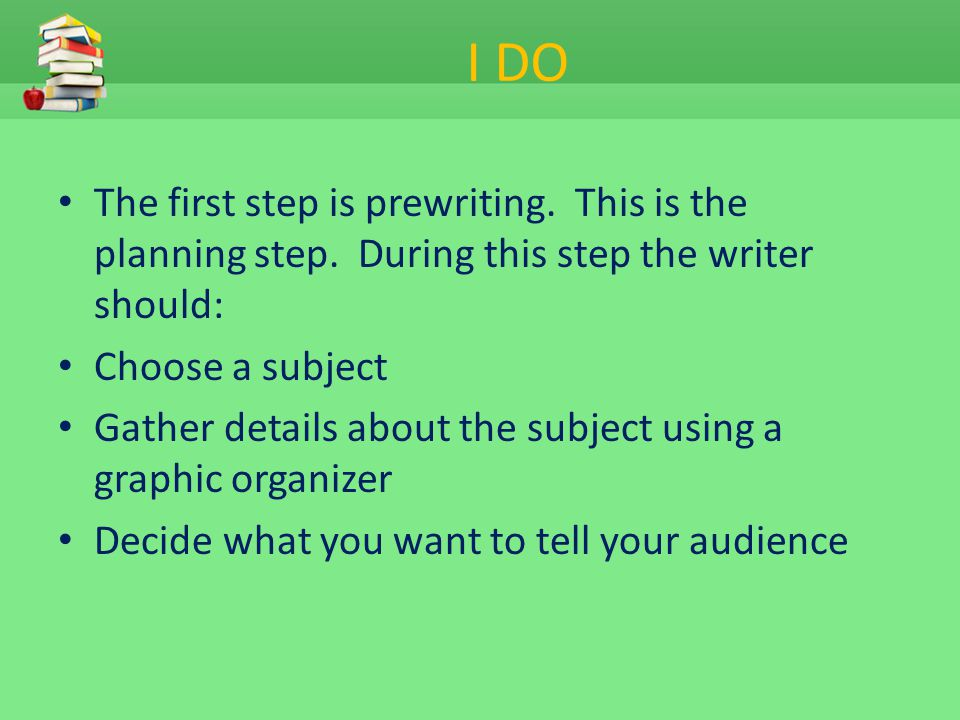 I DO The first step is prewriting. This is the planning step. During this step the writer should: