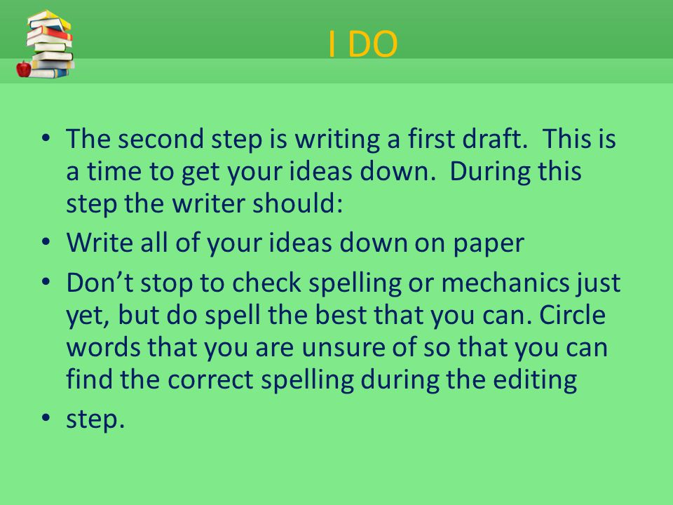 I DO The second step is writing a first draft. This is a time to get your ideas down. During this step the writer should: