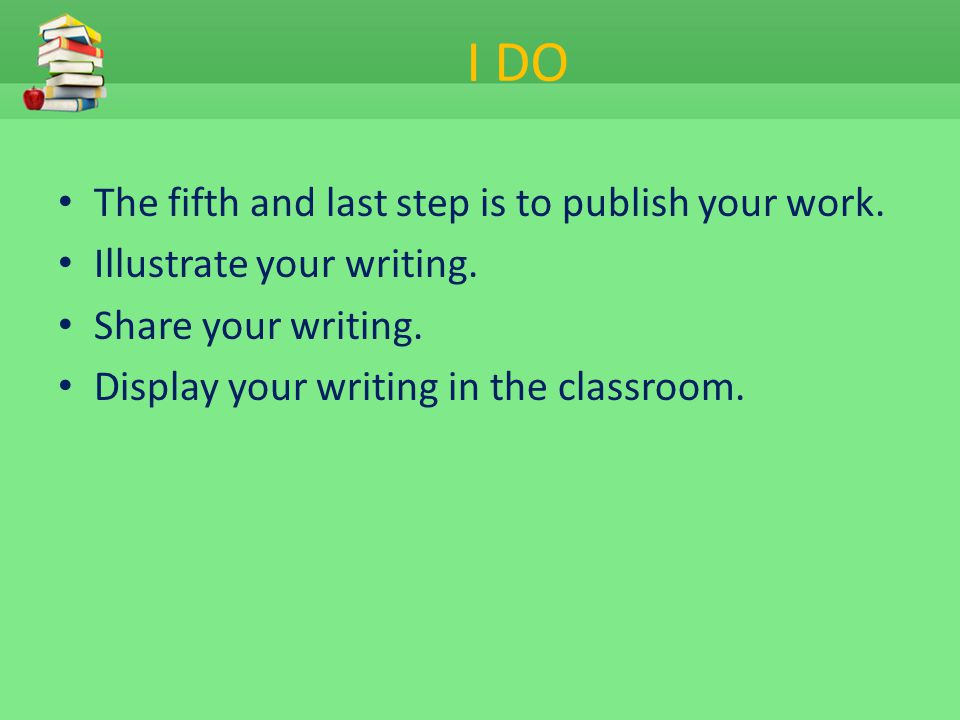 I DO The fifth and last step is to publish your work.