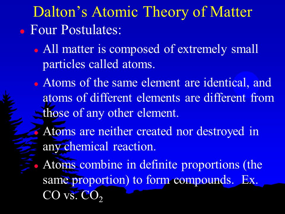 Dalton's Atomic Theory of Matter