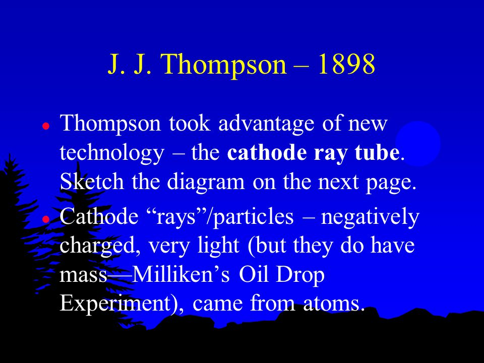 J. J. Thompson – 1898 Thompson took advantage of new technology – the cathode ray tube. Sketch the diagram on the next page.