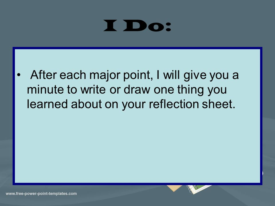I Do: After each major point, I will give you a minute to write or draw one thing you learned about on your reflection sheet.