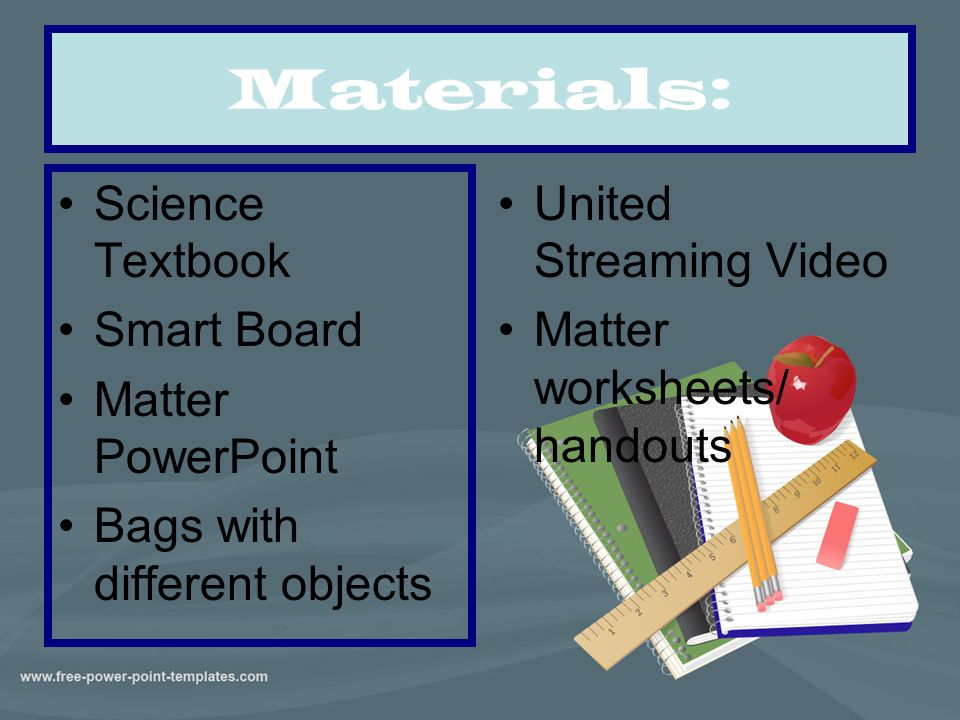 Materials: Science Textbook Smart Board Matter PowerPoint