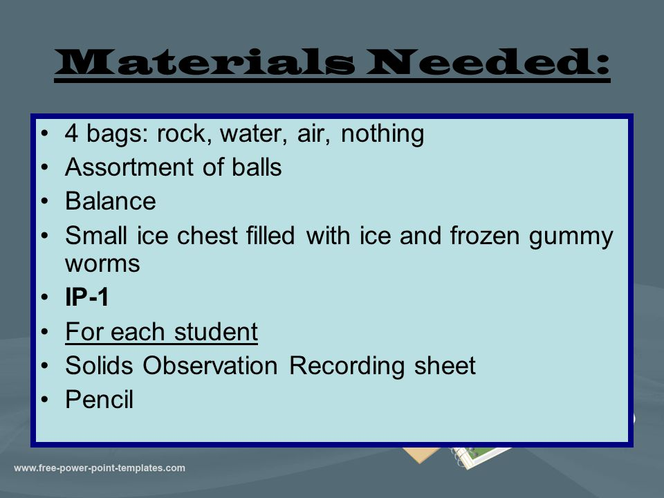 Materials Needed: 4 bags: rock, water, air, nothing