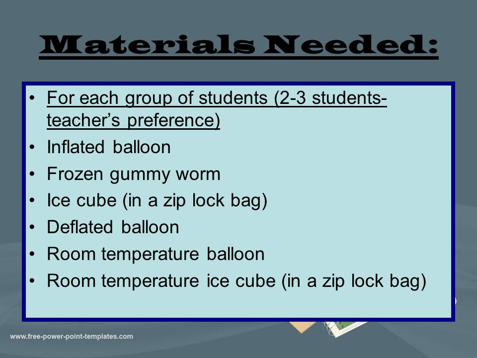 Materials Needed: For each group of students (2-3 students- teacher's preference) Inflated balloon.