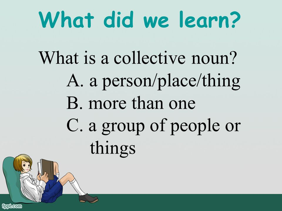 What did we learn What is a collective noun A. a person/place/thing