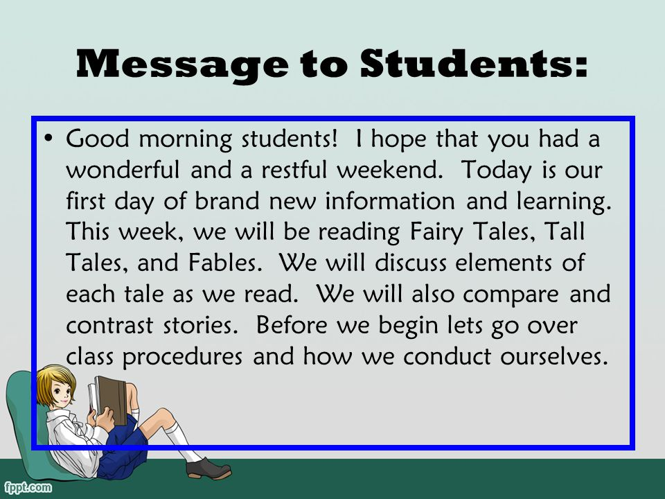 Message to Students: