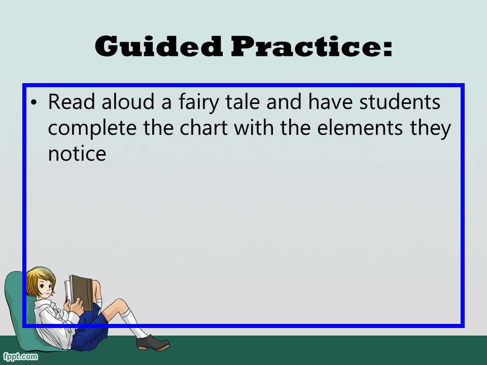Guided Practice: Read aloud a fairy tale and have students complete the chart with the elements they notice.