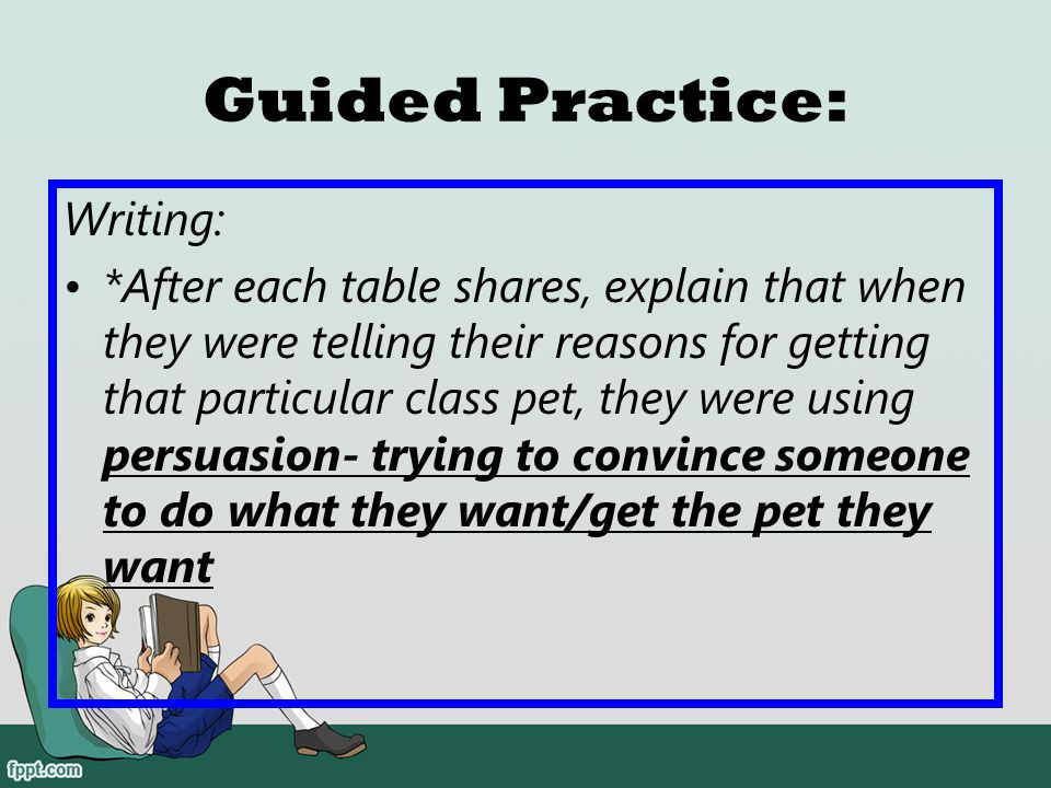 Guided Practice: Writing: