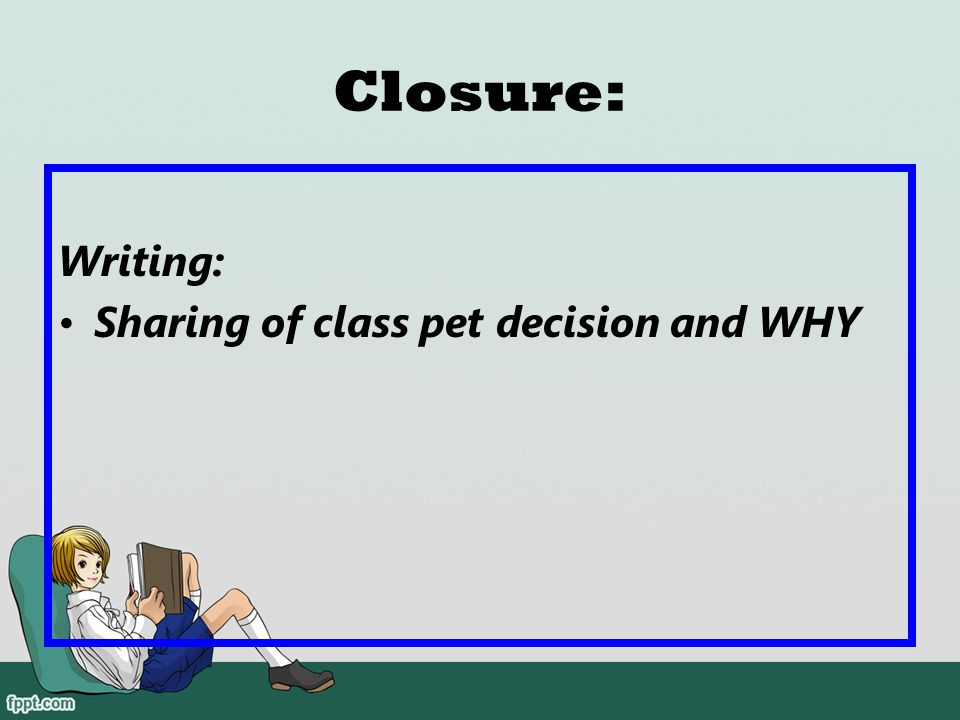 Closure: Writing: Sharing of class pet decision and WHY