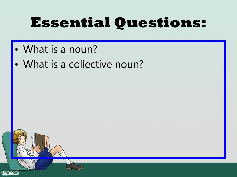 Essential Questions: What is a noun What is a collective noun