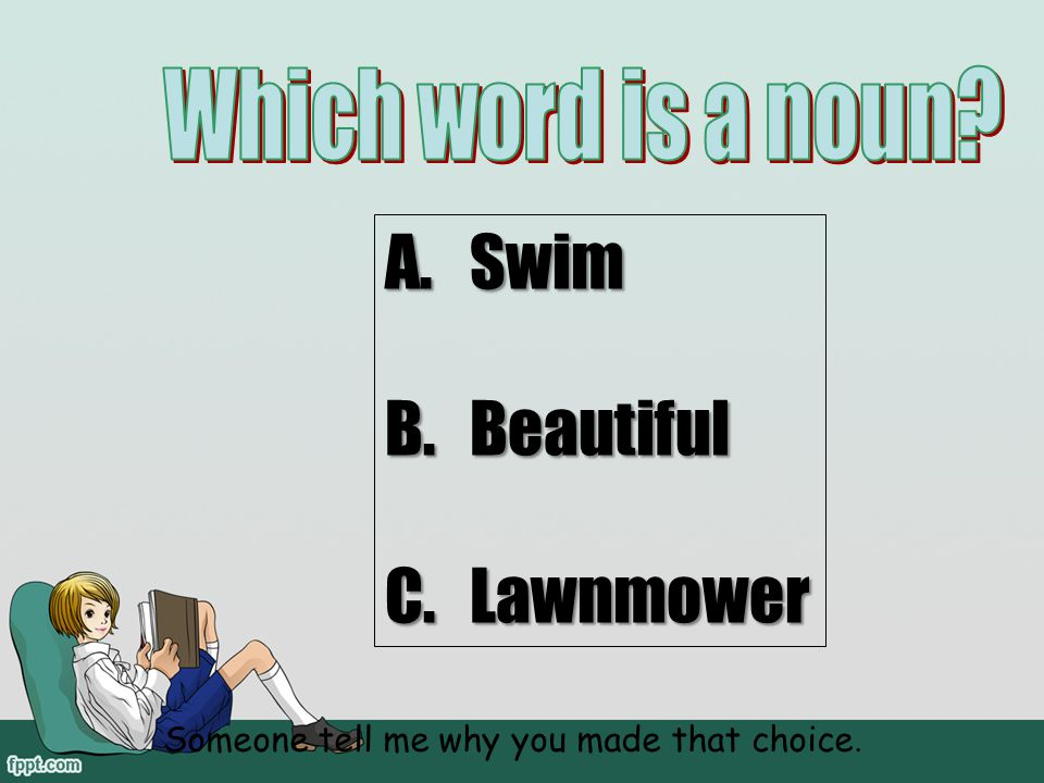 Which word is a noun Swim Beautiful Lawnmower