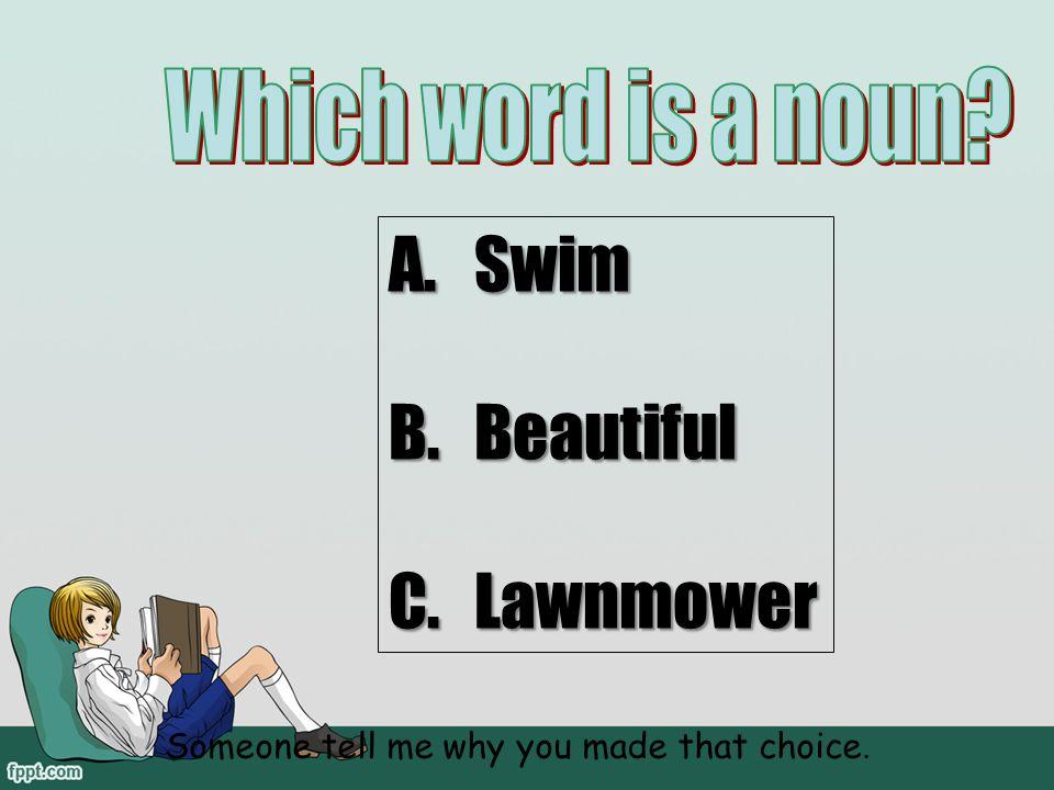 Which word is a noun Swim Beautiful Lawnmower