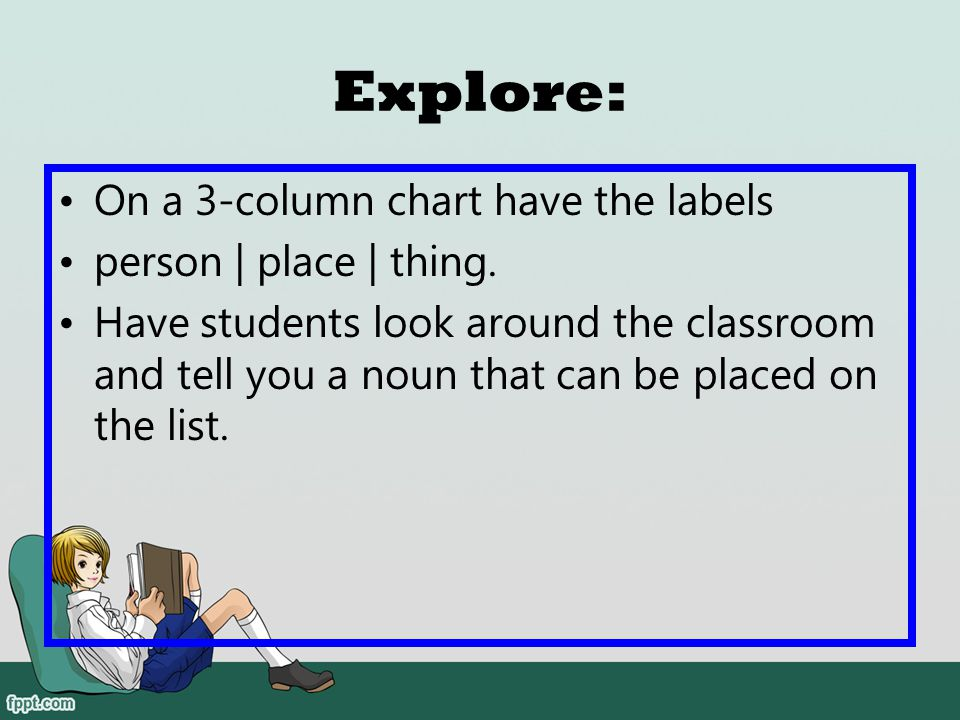 Explore: On a 3-column chart have the labels person | place | thing.