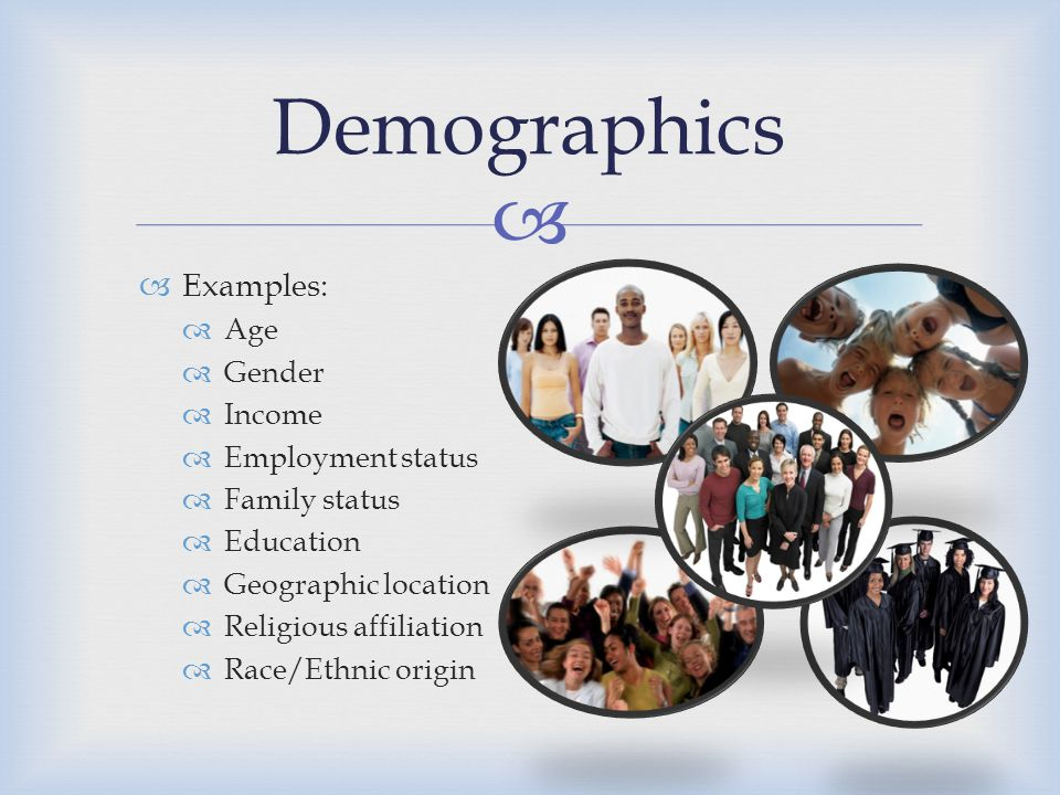 Demographics Examples: Age Gender Income Employment status