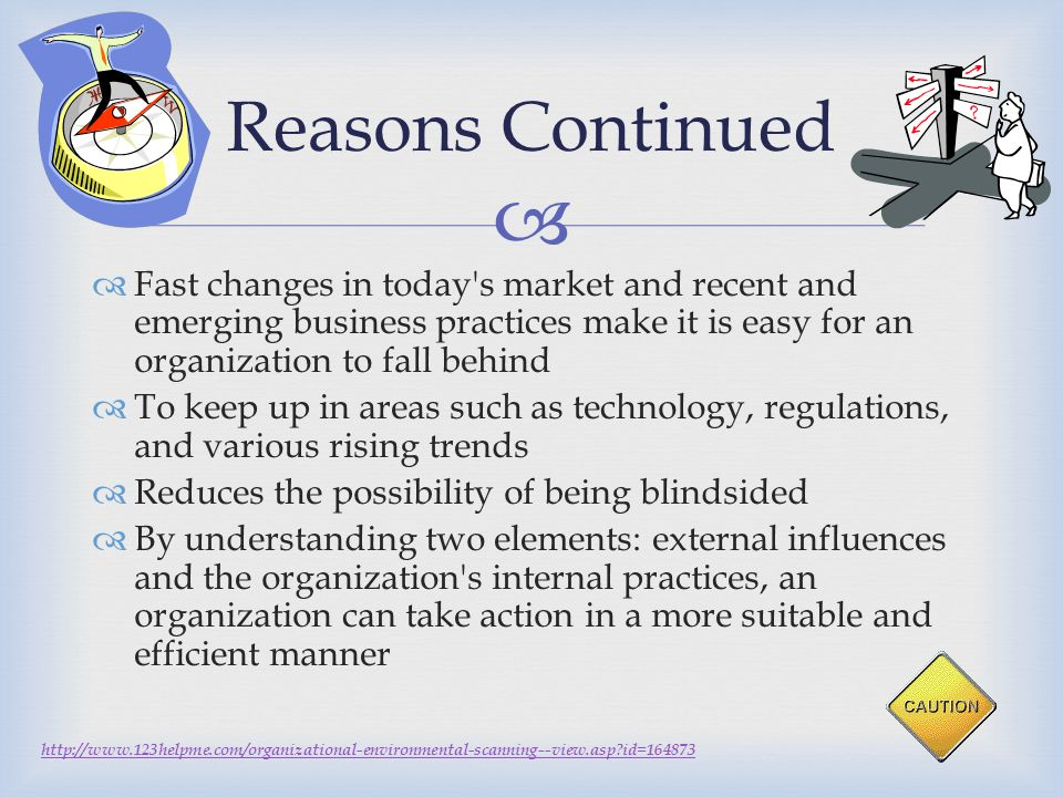 Reasons Continued Fast changes in today s market and recent and emerging business practices make it is easy for an organization to fall behind.