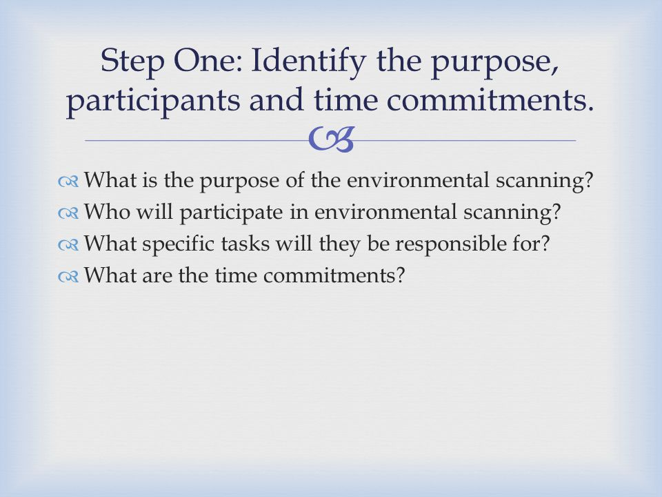 Step One: Identify the purpose, participants and time commitments.