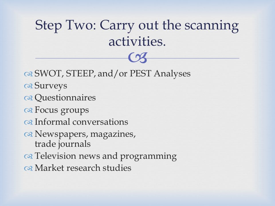Step Two: Carry out the scanning activities.