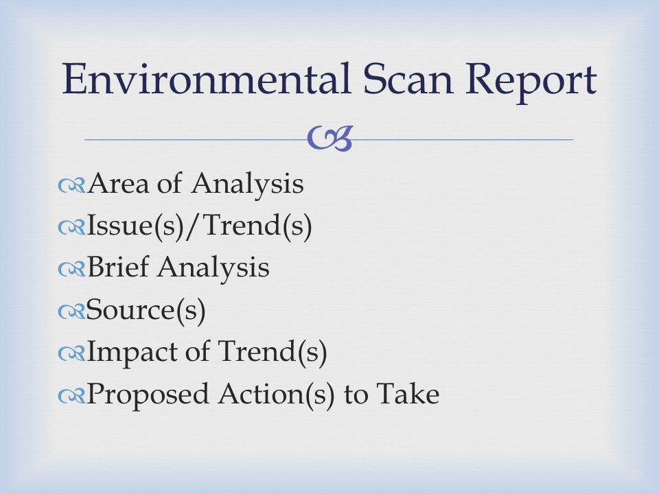 Environmental Scan Report