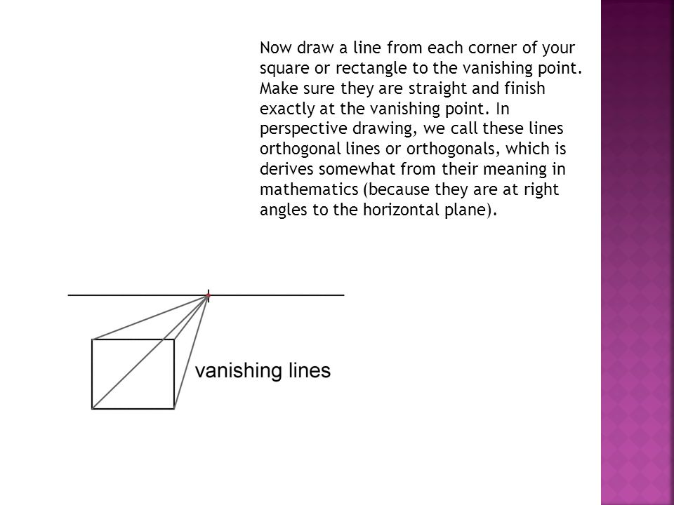 Now draw a line from each corner of your square or rectangle to the vanishing point.