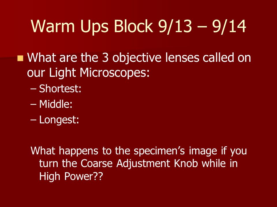 Warm Ups Block 9/13 – 9/14 What are the 3 objective lenses called on our Light Microscopes: Shortest: