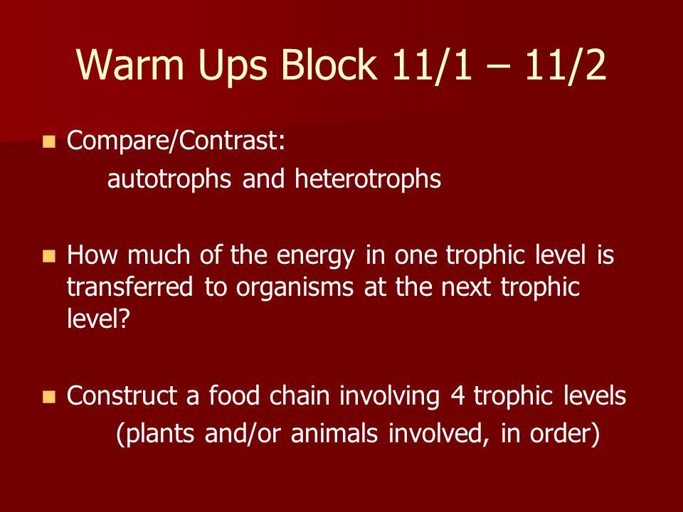 Warm Ups Block 11/1 – 11/2 Compare/Contrast: