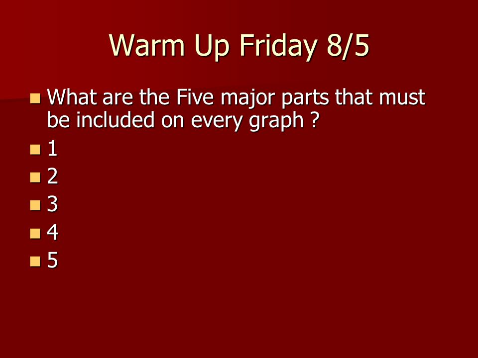 Warm Up Friday 8/5 What are the Five major parts that must be included on every graph 1 2 3 4 5
