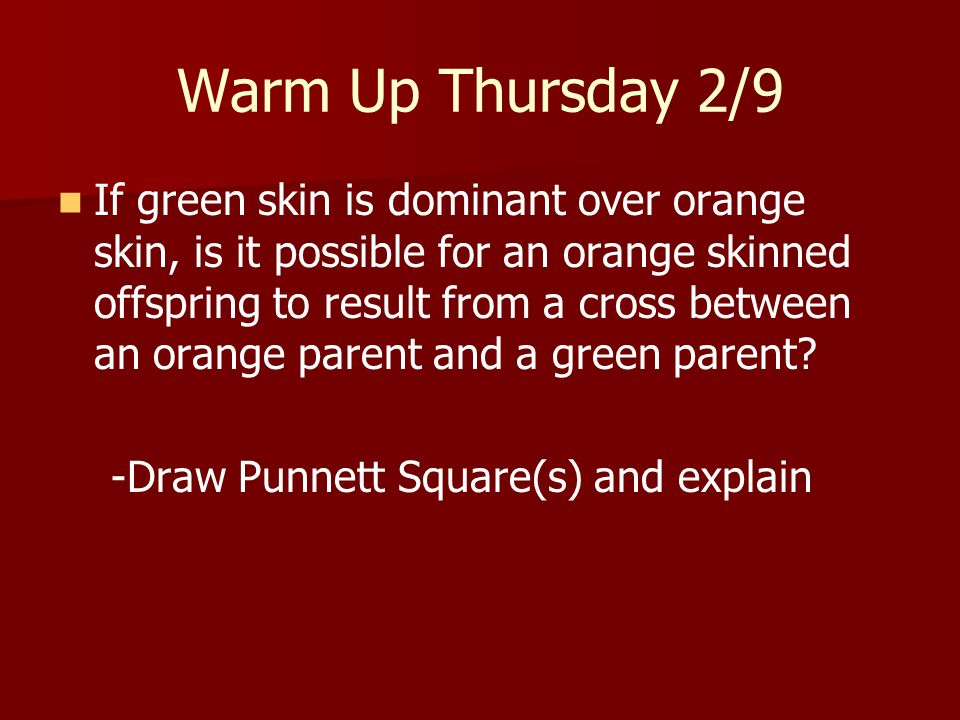 Warm Up Thursday 2/9