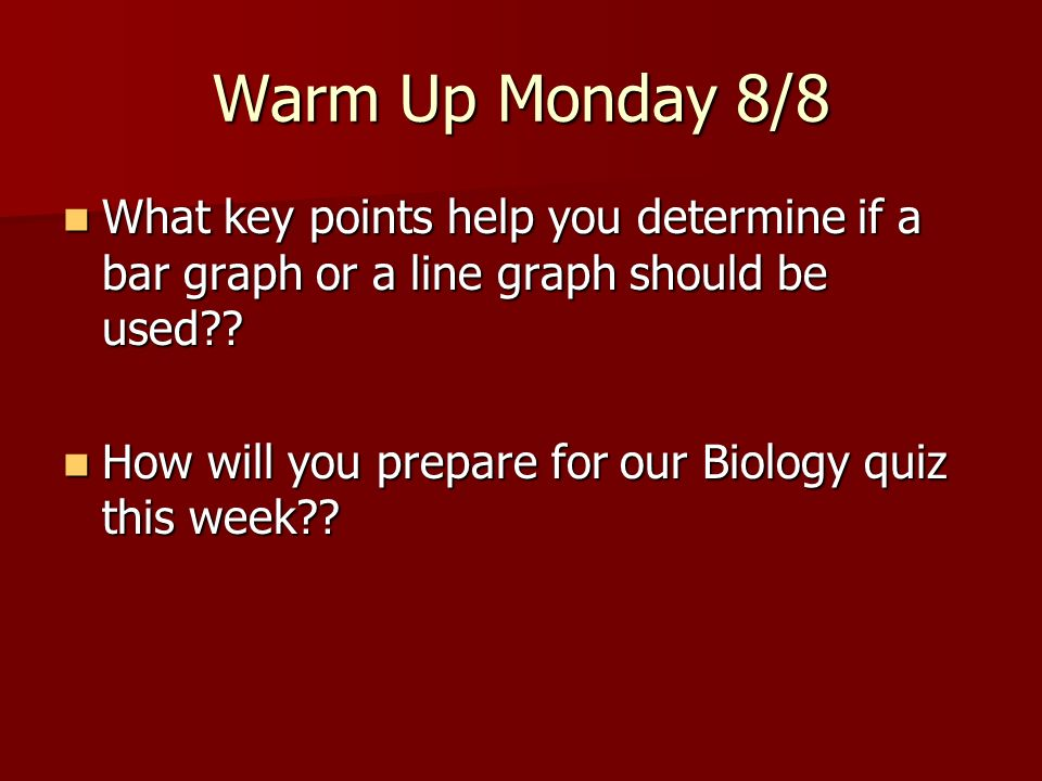 Warm Up Monday 8/8 What key points help you determine if a bar graph or a line graph should be used