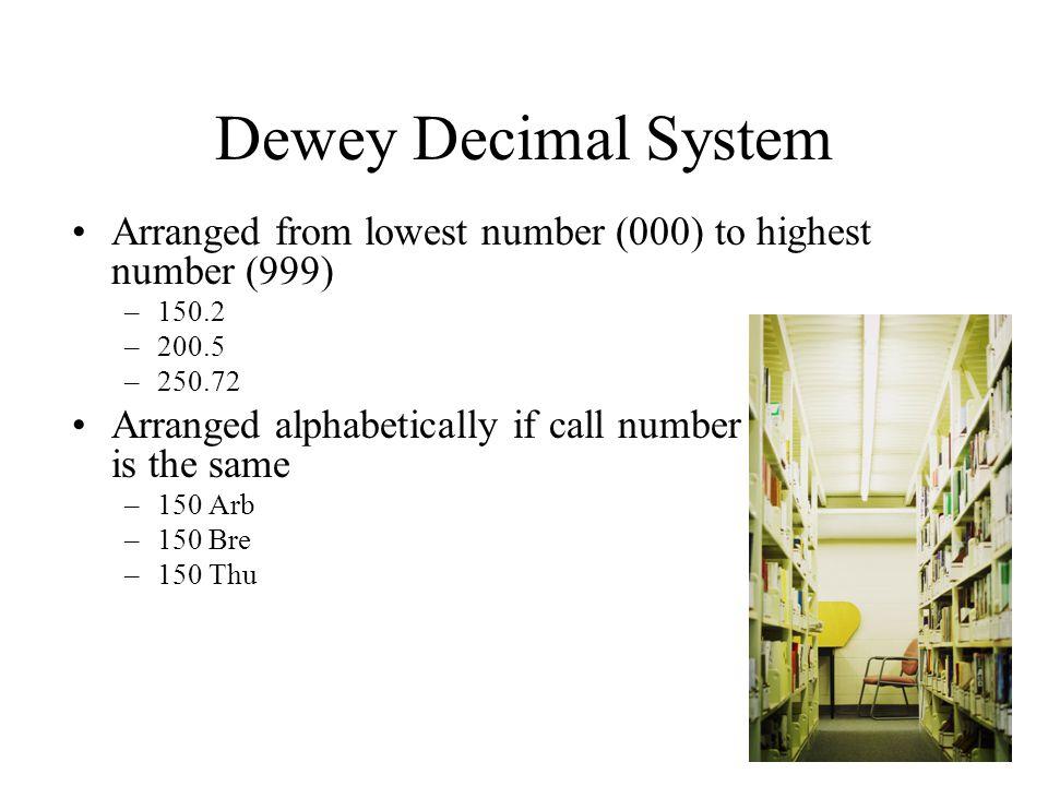 Dewey Decimal System Arranged from lowest number (000) to highest number (999) 150.2. 200.5. 250.72.