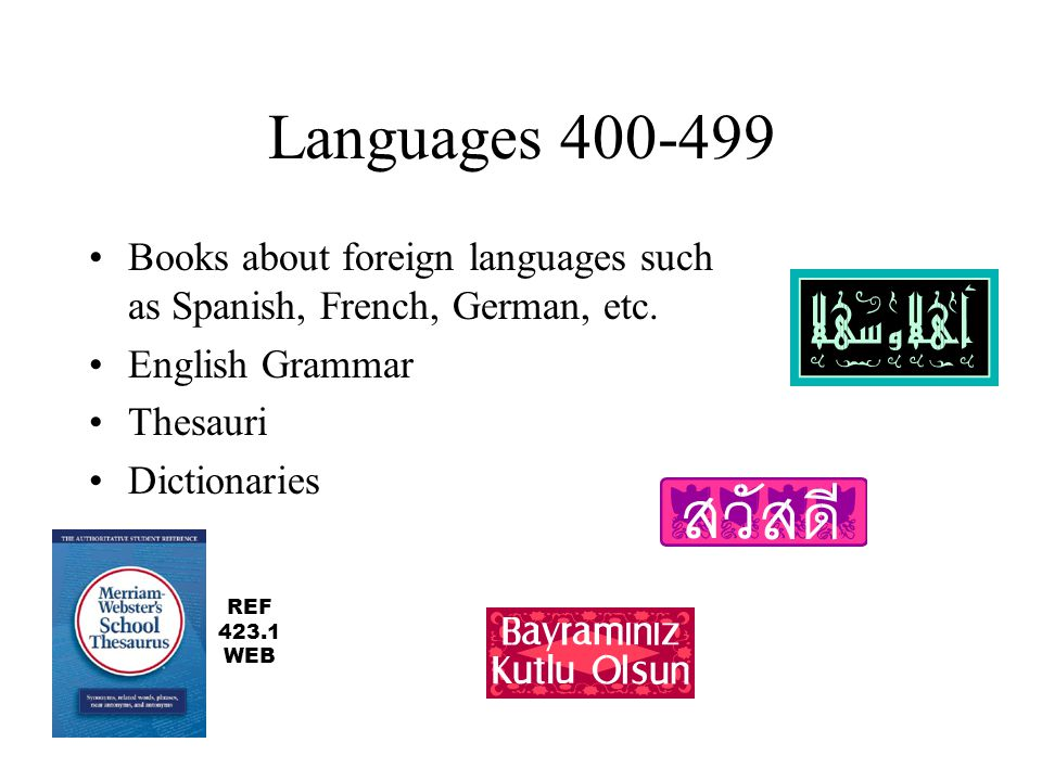 Languages 400-499 Books about foreign languages such as Spanish, French, German, etc. English Grammar.