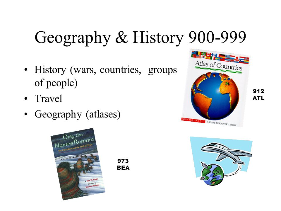 Geography & History 900-999 History (wars, countries, groups of people) Travel. Geography (atlases)