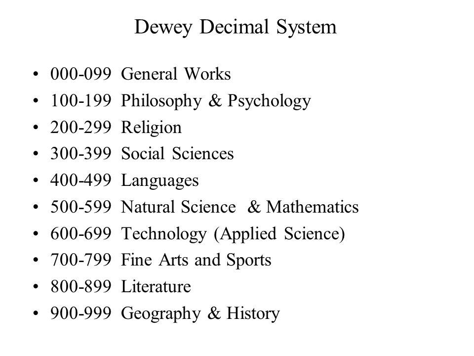 Dewey Decimal System 000-099 General Works