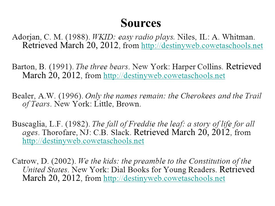Sources Adorjan, C. M. (1988). WKID: easy radio plays. Niles, IL: A. Whitman. Retrieved March 20, 2012, from