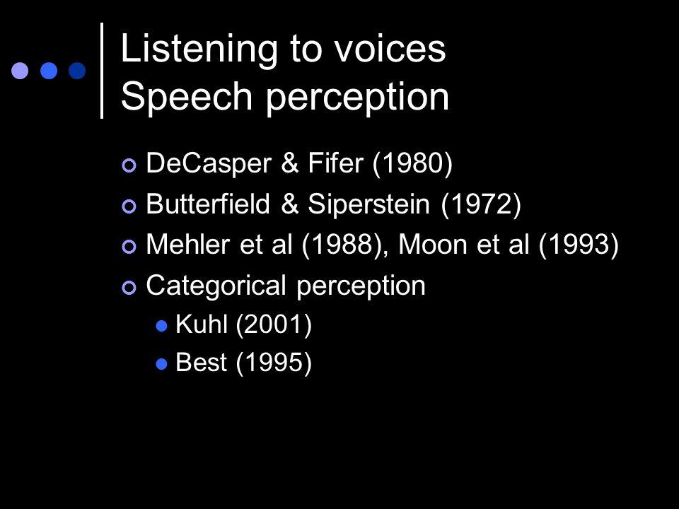 Listening to voices Speech perception