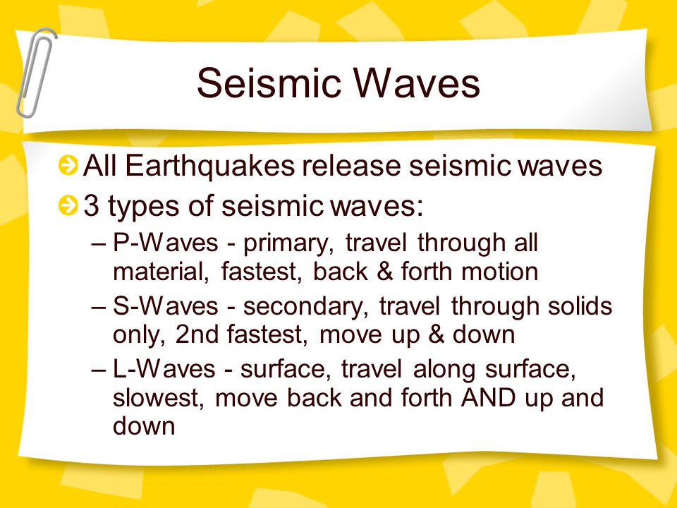 Seismic Waves All Earthquakes release seismic waves