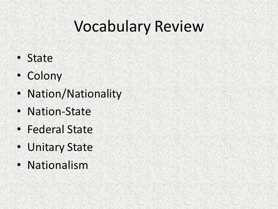 Vocabulary Review State Colony Nation/Nationality Nation-State