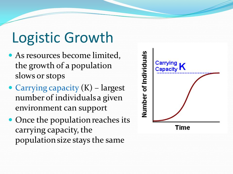 Logistic Growth As resources become limited, the growth of a population slows or stops.