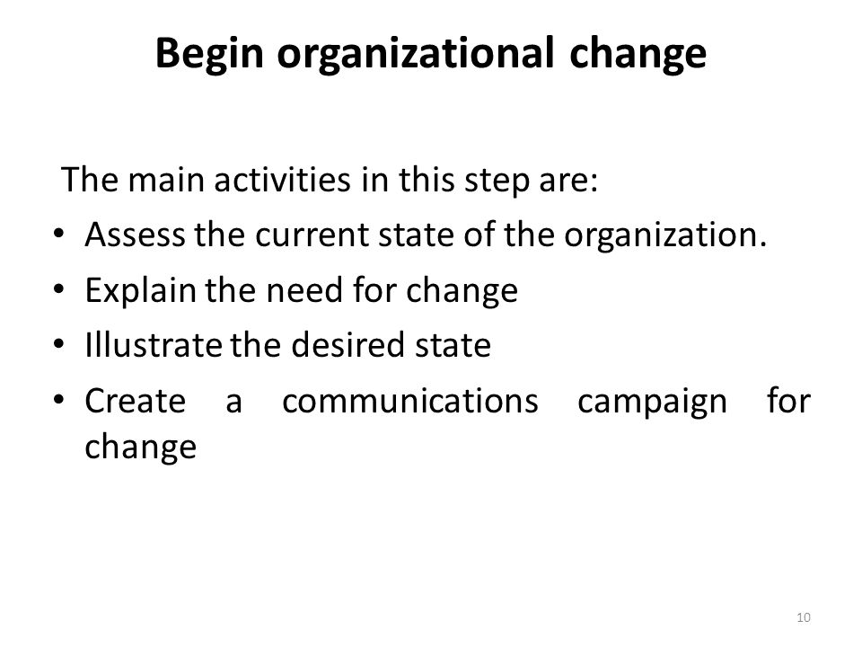 Begin organizational change