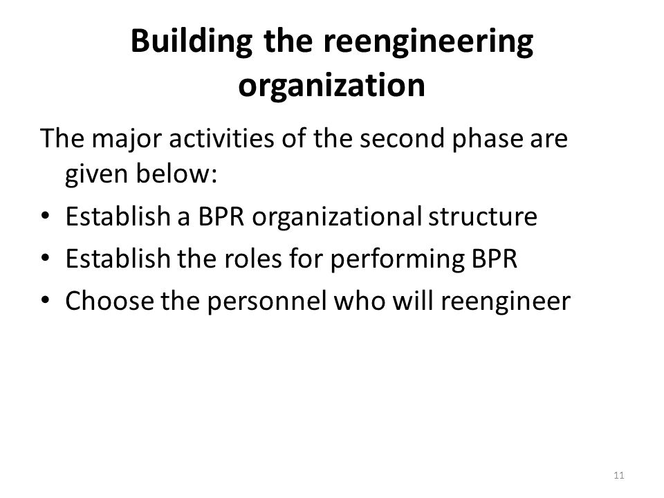 Building the reengineering organization