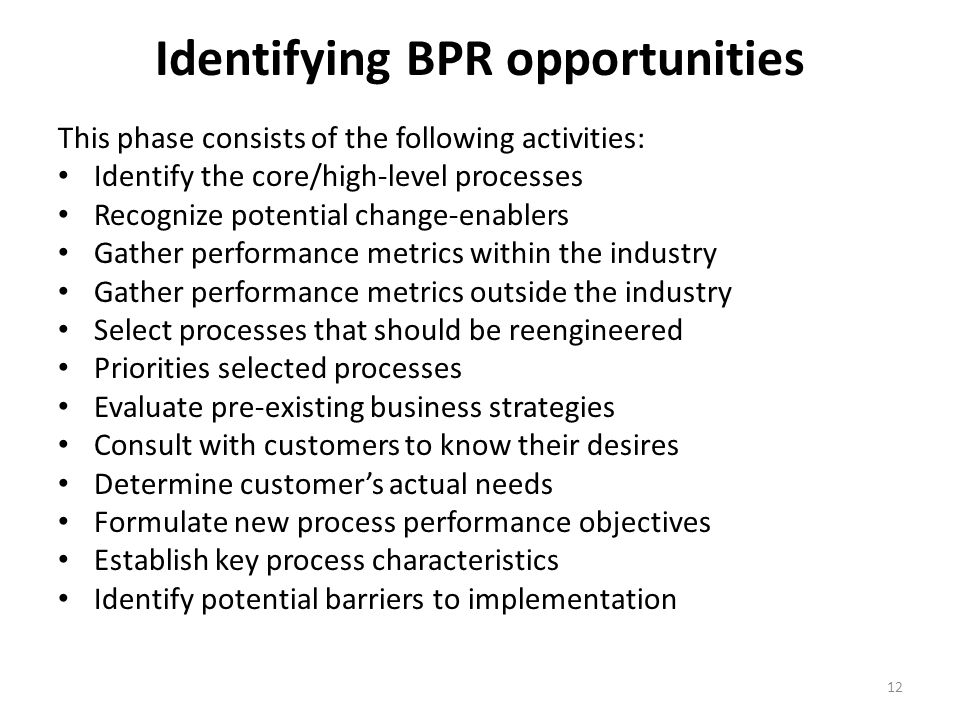 Identifying BPR opportunities