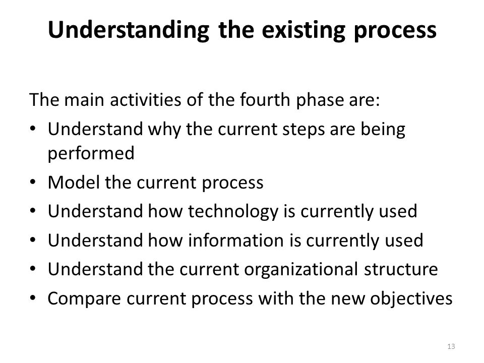 Understanding the existing process
