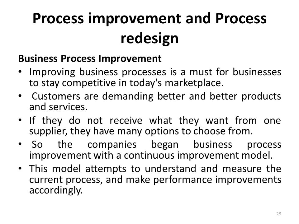 Process improvement and Process redesign