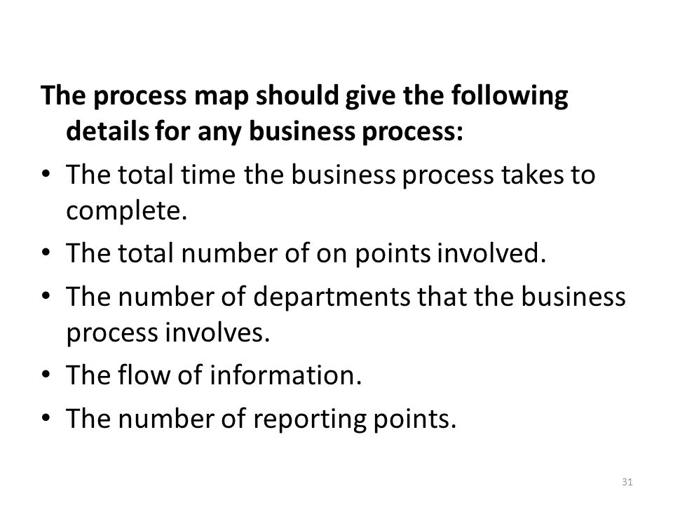 The process map should give the following details for any business process: