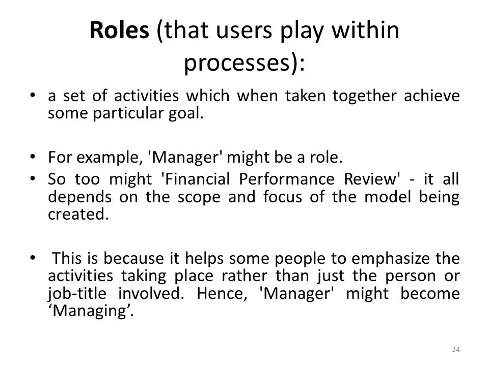 Roles (that users play within processes):
