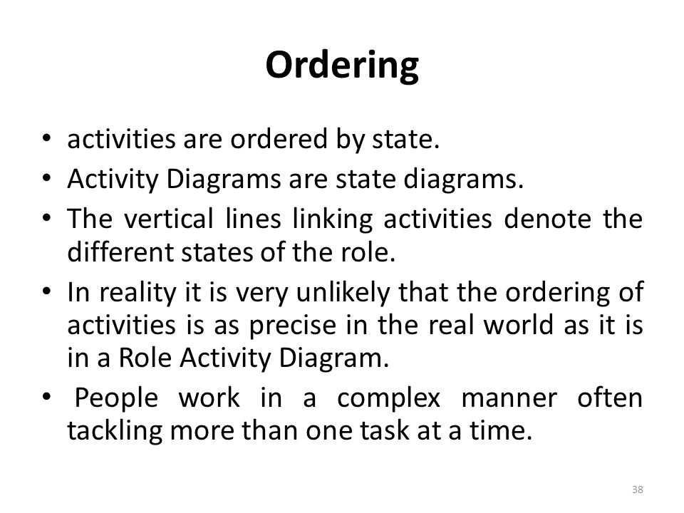 Ordering activities are ordered by state.