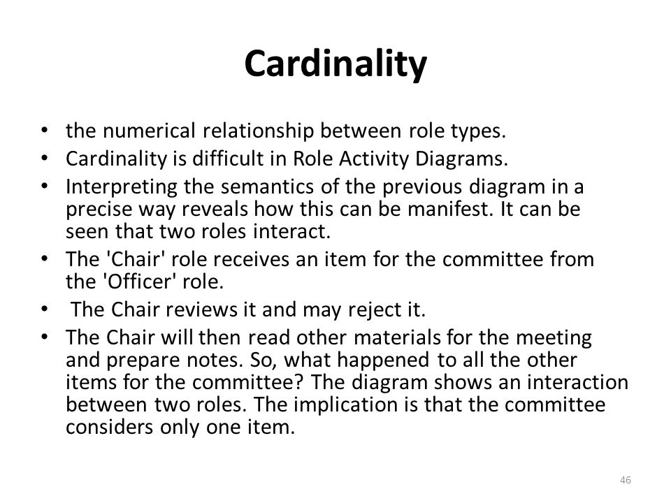 Cardinality the numerical relationship between role types.