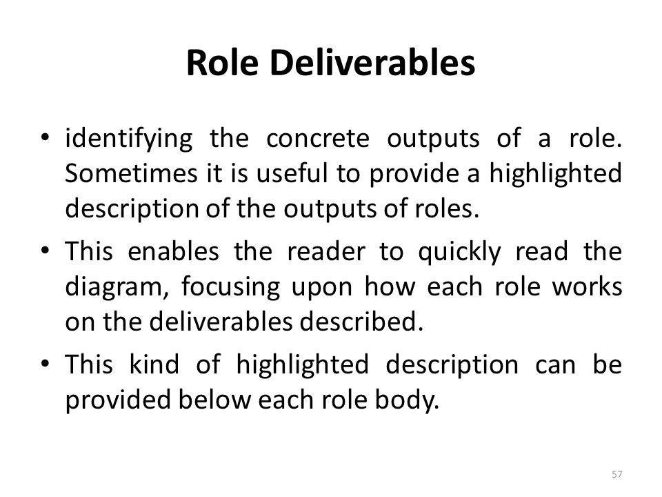 Role Deliverables identifying the concrete outputs of a role. Sometimes it is useful to provide a highlighted description of the outputs of roles.