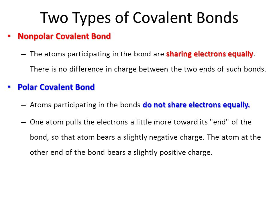 Two Types of Covalent Bonds