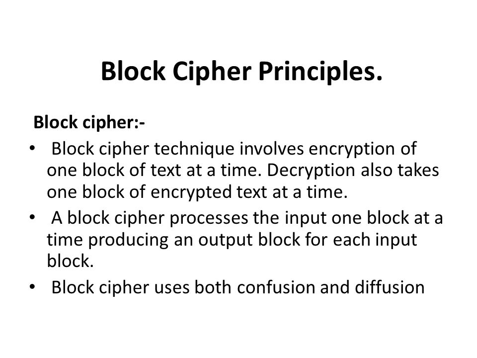 Block Cipher Principles.